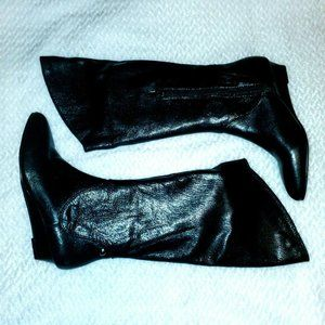 Calvin Klein Jeans Fiona Black Leather Wedge Boots